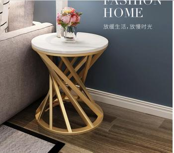 Simple modern Nordic artificial marble coffee table corner sofa side cabinet corner balcony wrought iron small coffee table [haotian vegetarian] antique chinese cabinet door corner flower corner flower corner piece coffee table htg 087 tri color