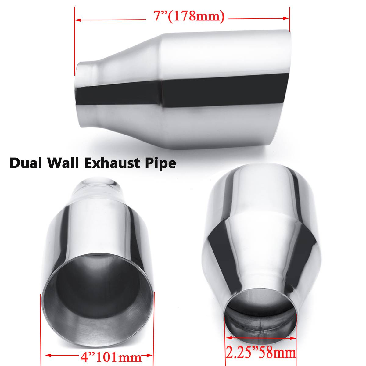 2pcs 58mm-101mm Car Exhaust Muffler Pipe Dual Wall Exhaust Tip 2.25-4 Auto Tail Pipe Stainless Steel image