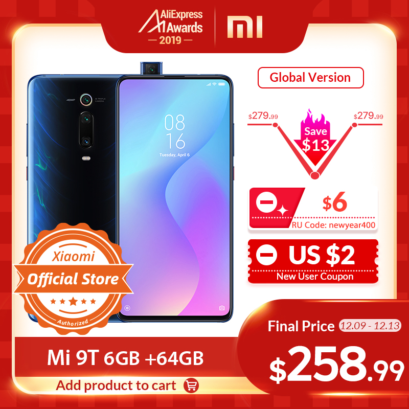 "Xiaomi Redmi K20 Mi 9T 6GB 64GB Global Version Snapdragon 730 48MP Camera 4000mAh 6.39"" In Screen Fingerprient Smartphone"