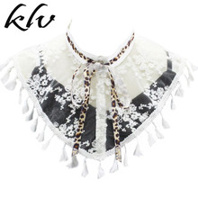 Sheer Mesh Half Shirt Shawl Womens Floral Embroidery Tassels False Fake Collar