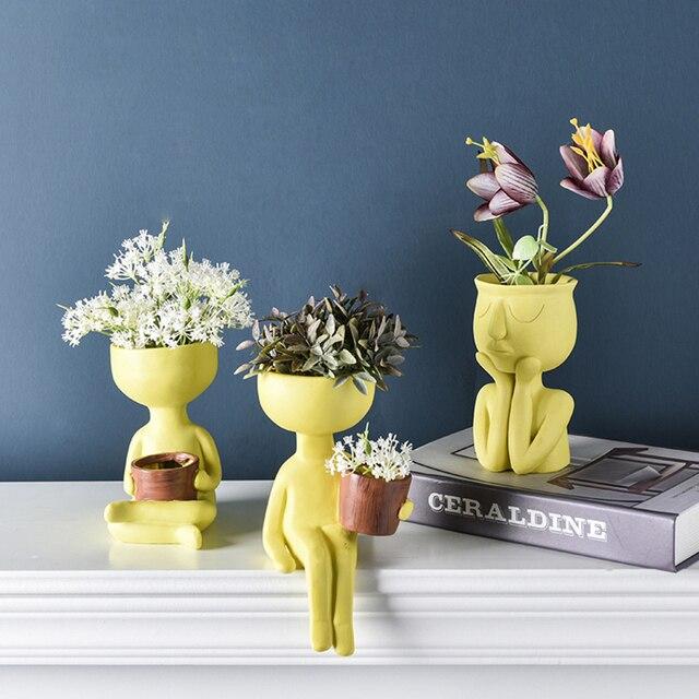 Character Portrait Flower Pot Resin Succulents Plant Pot Abstract Human Face Flower Pot Home Desktop Vase Micro Landscape Decor 3