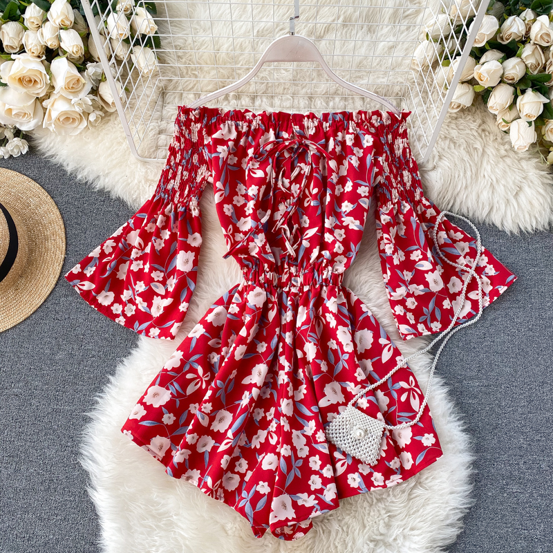 2020 Boho Style Off Shoulder Sexy Floral Print Jumpsuit Lace Up Women Short Summer High Waist Playsuit Flare Sleeve Beach Romper