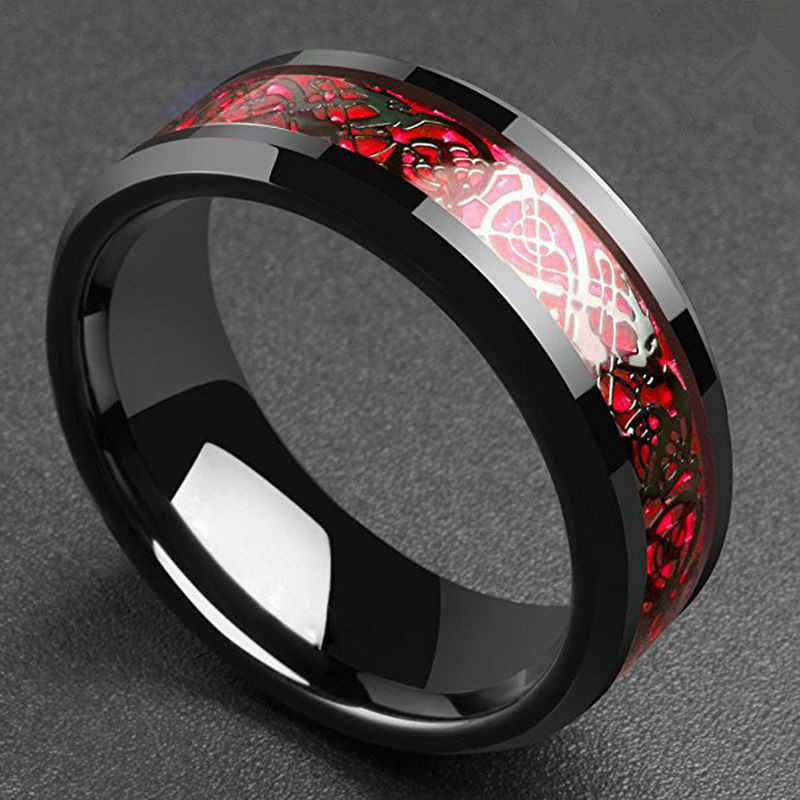 1PCS Domineering Man Ring Red Green Carbon Fiber Black Dragon Inlay Comfort Fit Stainless steel Rings for Men Wedding Band Ring