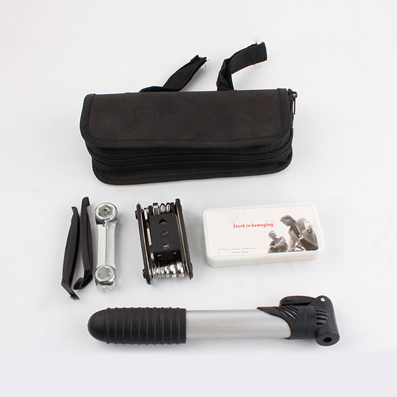 New 16in1 Multi-function Bike Bicycle Cycling Flat Tire Repair Kit Tool Set Kit Patch Rubber Portable With Pump & Bag