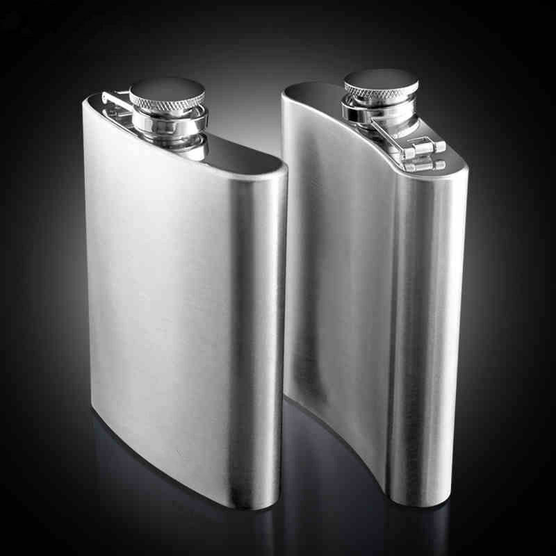 Stainless Steel Hip Flask Liquor Whiskey Alcohol Pocket Wine Bottle 7 8 10 oz Hip Flasks Portable Solid Color Hip Flasks Sliver