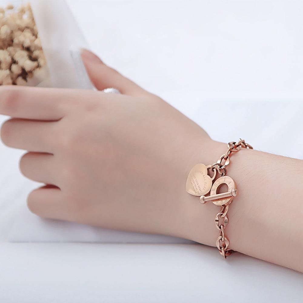 Braccialetti del cuore di amore dell'acciaio inossidabile per il regalo del partito delle donne moda Joyas de Chain braccialetti con ciondoli gioielli testo all'ingrosso inciso 2