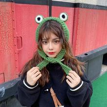 Fashion Frog Hat Women Frog Hat Knitted Hat Cute Frog Headband Photo Props Earflap Cap Baby Anime Hat Photography Prop Party