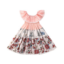 Baby Girl Dress Toddler Kid Baby Girl Princess Dress Lace Ruffle Flowers Print A-Line Dress Party Summer Clothes Outfit 0-5Y summer casual fashion baby girl cute sleeveless stripe suspender ruffle princess dress kids 1 5y baby girl dress