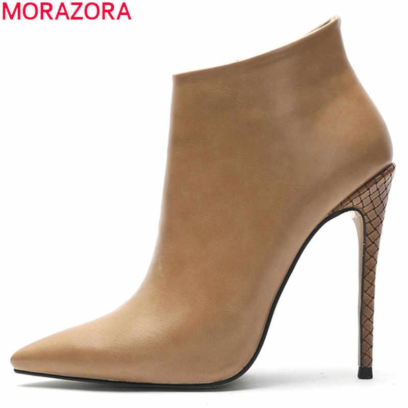 Morazora 2020 Big Size 45 Vrouwen Enkellaars Effen Kleur Elegante Dunne Hoge Hakken Partij Bruiloft Schoenen Herfst Winter Laarzen vrouw