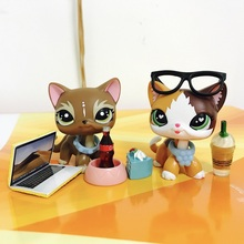 Pets Shop Flame Short Hair Cat With 8pcs Accessories Action Figure Childrens Best Gifts