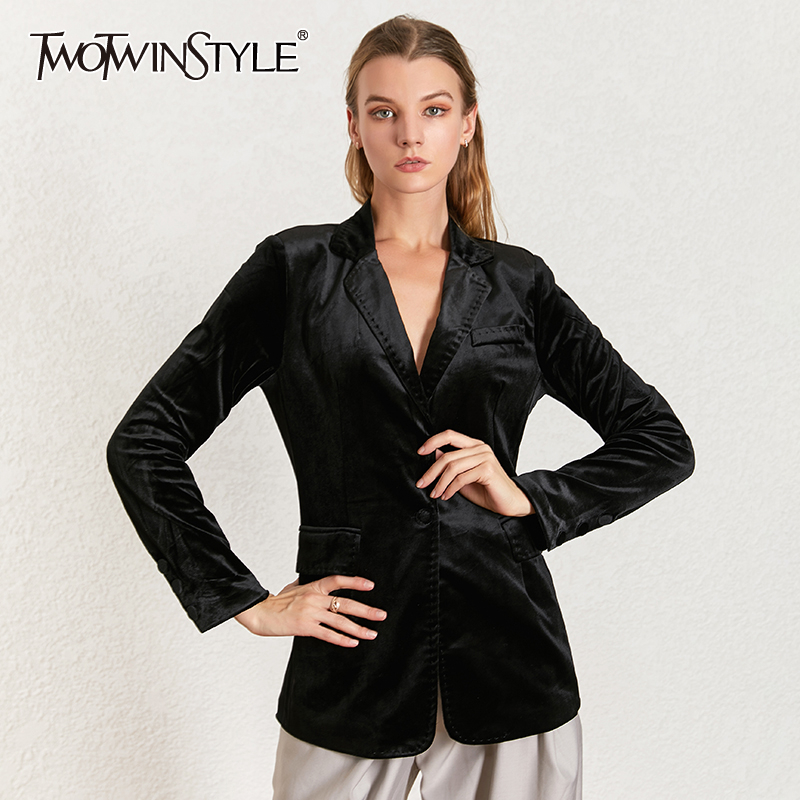 TWOTWINSTYLE Velvet Women's Suit Notched Collar Long Sleeve Single Button Black Blazer Coat Female 2020 Ladies OL Style Fashion