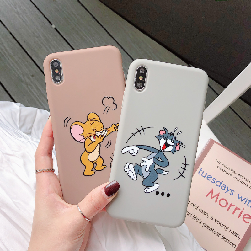For <font><b>iphone</b></font> 7 <font><b>8</b></font> 6S Plus 11 Pro XS Max X XR <font><b>Case</b></font> Fashion Cute Funny Cartoon <font><b>Cat</b></font> Mouse Matte Soft TPU Couple Phone Back Cover Coque image