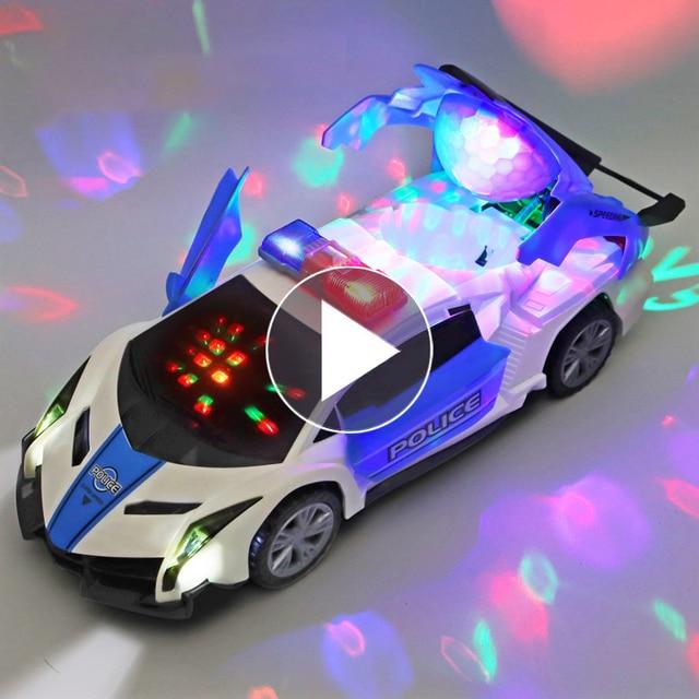 Electric dancing deformation rotating universal police car toy car boy toy child kid girl car Christmas birthday gift 1