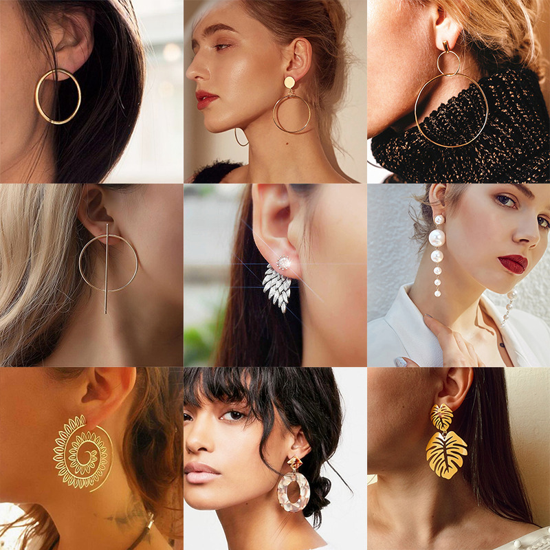 Korean Fashion Elegant Pearl Crystal Geometric Earrings For Women New Hollow Round Acrylic Dangle Earrings Statement Ear Jewelry