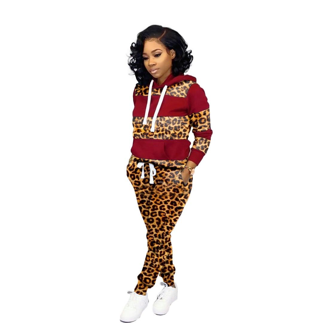 New Leopard Patchwork Women's set long sleeve hooded sweatshirts pencil pants suit elegant two piece set tracksuit outfit