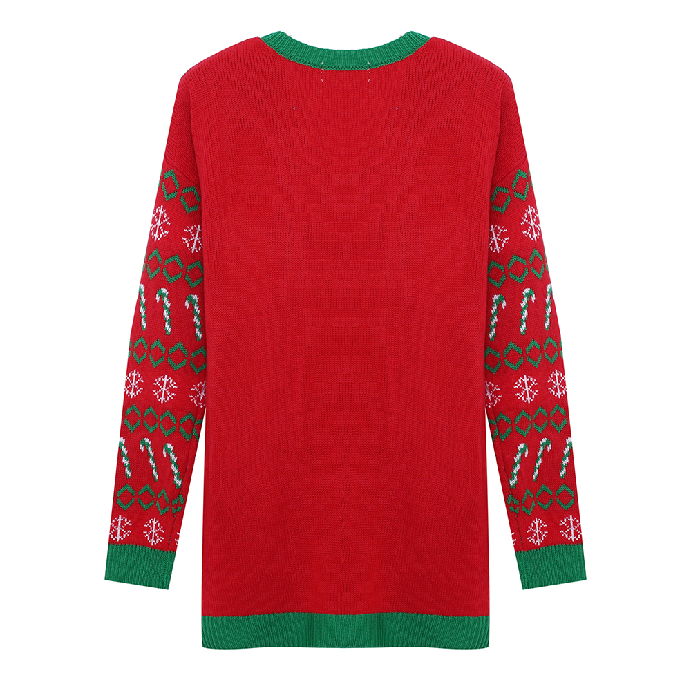 LingGT Christmas Sweaters for Women Soft Wool Knitted Santa Claus Pattern Sweaters Color : Red, Size : XXL
