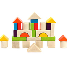 High Quality Wooden 30 Pieces Color Boxed Blocks Childrens Building Toys For  Early Educational