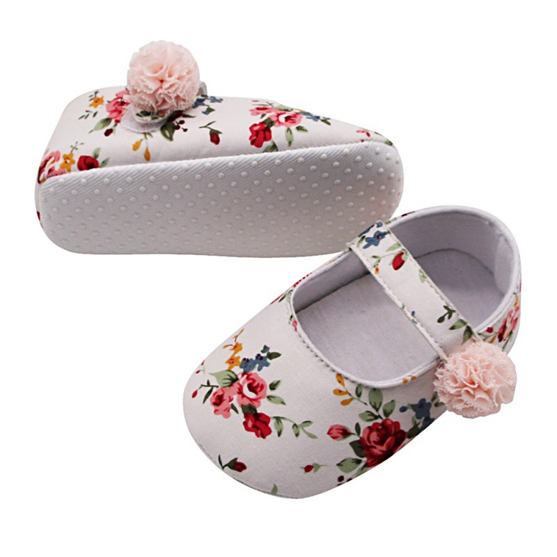 Baby Shoes Girl Breathable Floral Print Anti-Slip Shoes Casual Walking Shoe Toddler Soft Soled First Walkers New