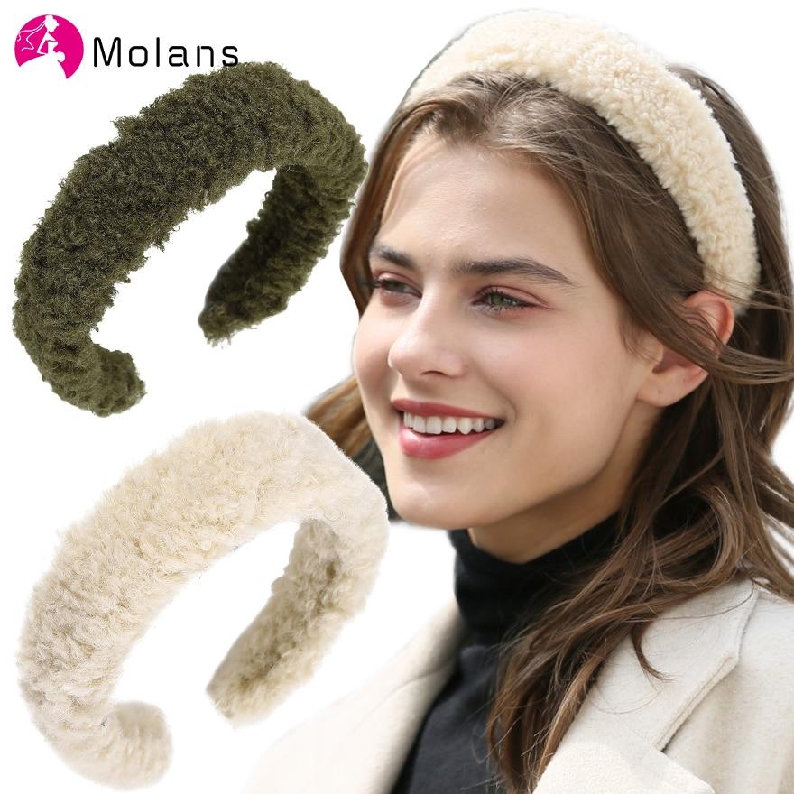 MOLANS New Curly Fur Headband Fall Winter fabric Fur Hairband Women Hair Accessories Elegant Solid Teddy Headbands Soft Plush