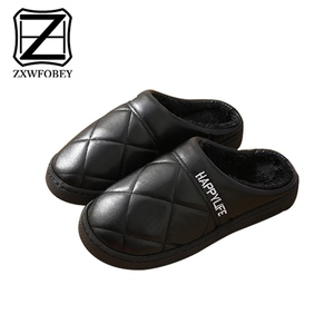 Image 2 - ZXWFOBEY Mens Women Warm Shoes  Home Garden Shoes Fur Lined Slides Indoor Leather Slippers Winter Shoes