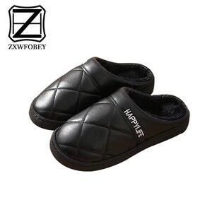 Image 2 - ZXWFOBEY الرجال النساء أحذية دافئة المنزل حذاء للحديقة الفراء اصطف الشرائح داخلي خف جلدي أحذية الشتاء