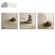 Белый песок дзен камень холст настенное искусство песок Пляж пейзаж картина искусство на стену Современный домашний декор без рамки холст ...