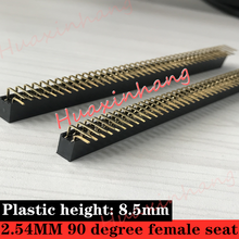 цена на high quality100pcs/Lot 2x40 Pin 2.54mm Spacing 90 degree female seat 2.54MM 90 degree Double row female socket for pcb connector