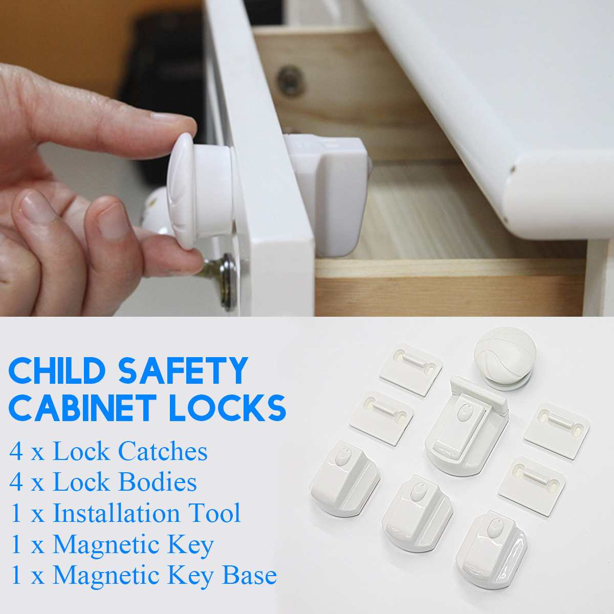 Magnetic Children Safety Lock Baby Security Cabinet Drawer Door Lock Kids Wardrobe  Locks 4 Pcs Lock+4 Pcs Lock Bodies