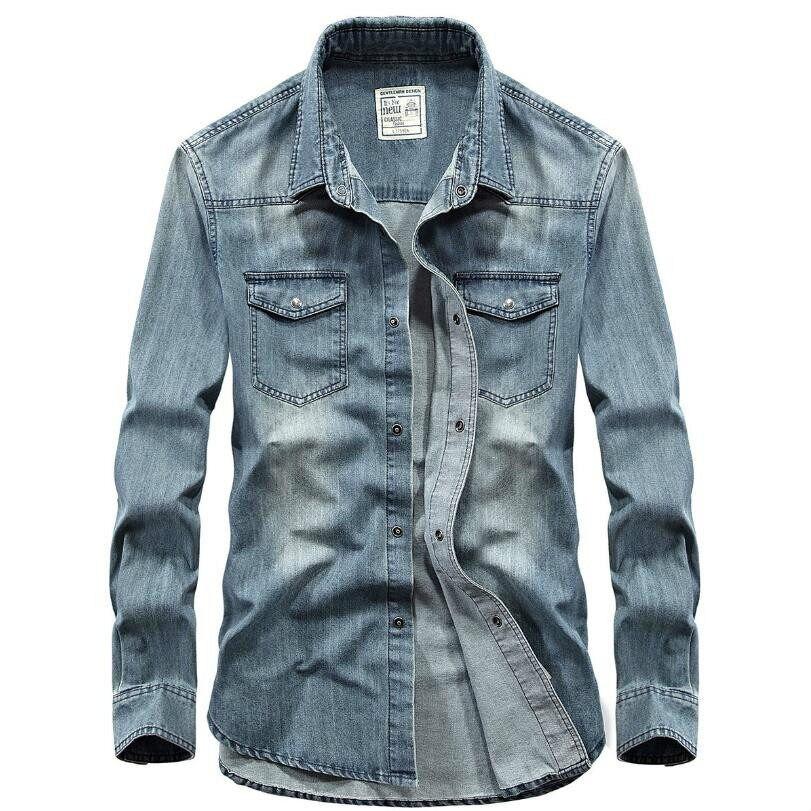 100% bawełna Gradient niebieski Jeans koszula mężczyzna mody  PF2co