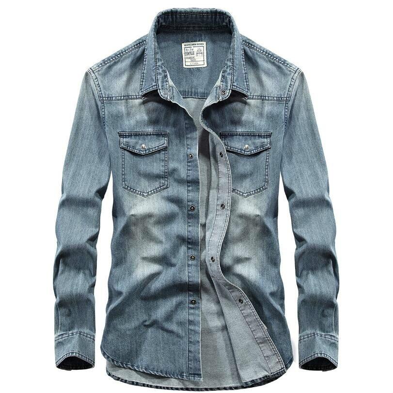 2020 Fashion Casual Denim Shirt Men Long Sleeve Spring Autumn Retro Cowboy Men Shirts Slim Fit Jeans Shirt Men Brand Clothing
