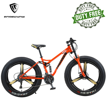 FOREKNOW Mountain Fat Bike 27 Speed Road Bicycle 26 Inch Wheel High-carbon Steel Frame Beach Snowmobile Offroad MTB Fatbike 1
