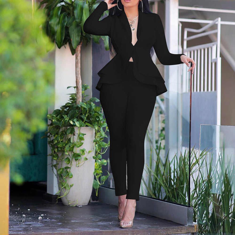Koningsblauw Afrikaanse Vrouwen Sets 2 Stuks Elegant Office Lady Werkkleding Ruches Tops Broek Business Vrouwelijke Kleding Sets Pakken