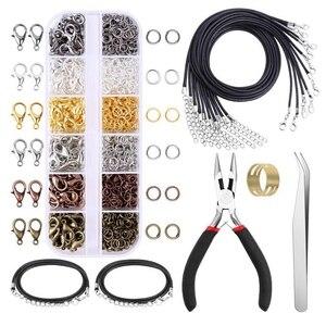 12 сеток DIY аксессуары для изготовления ювелирных изделий комбинированный набор открывающееся Закрытое кольцо Омаров пряжка ожерелье кольц...