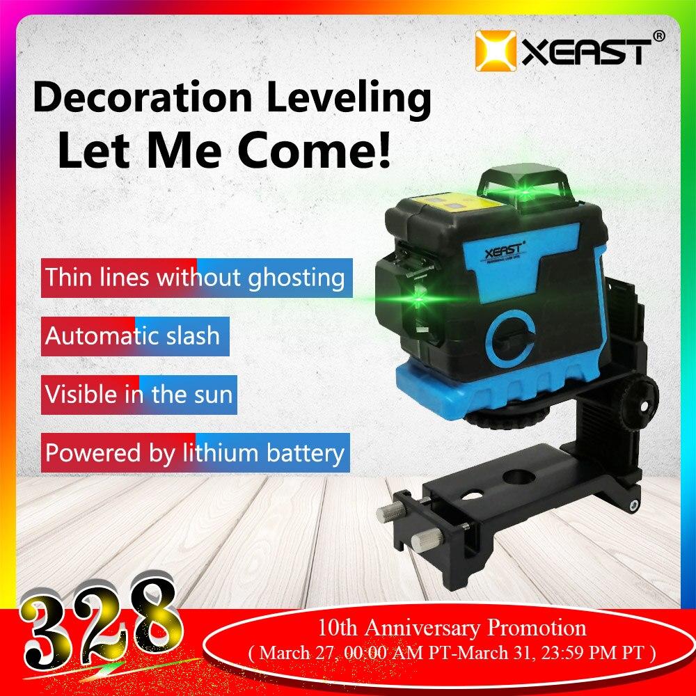XEAST XE-240 12 linii 3D zielony laser poziom bateria litowa samopoziomujący 360 poziome i krzyżujące się pionowo linie mogą korzystać z odbiornika