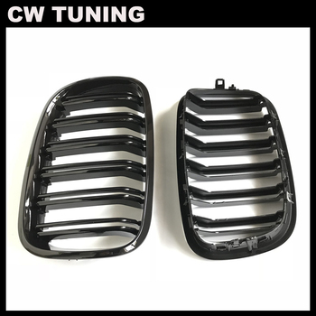 A Pair Glossy Black Front Bumper Hood Kidney Sport Grills Grille for BMW E70 E71 X5 X6 2007-2013 Car Styling Racing Grills image