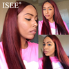 ISEE HAIR 99j Straight Lace Wigs 150% Density Lace Front Human Hair Wigs Pre Plucked Hairline Peruvian Straight Lace Front Wig