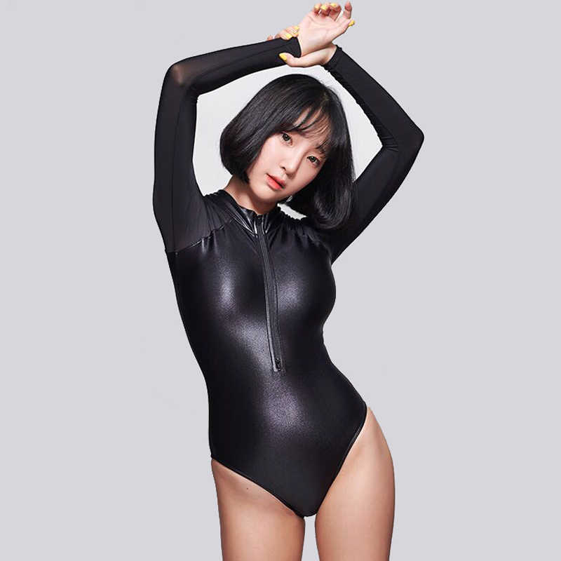 LEOHEX Sexy Long Sleeves Leotards Matte Black Bodysuit High Cut One Piece Swimwear Women Swimsuits Japanese Bathing Suits