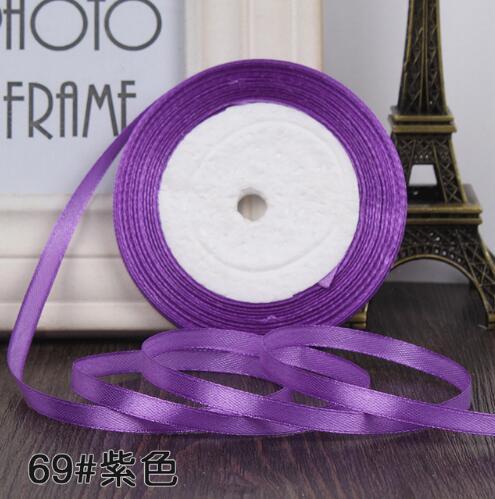 """22 метра(25 ярдов) Шелковая атласная лента 1/""""(6 мм) вечерние украшения для дома, свадьбы, подарочная упаковка, материал для рукоделия на Рождество, год - Цвет: purple"""