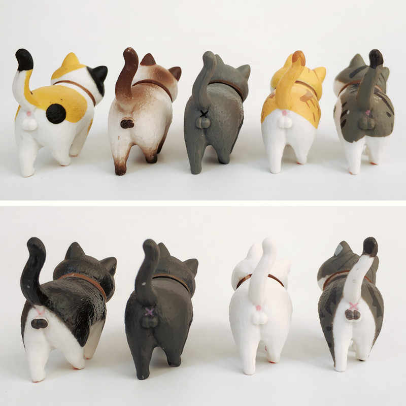 1Pcs Cute Mini PVC Animasi Model Cat Doll Figure Toy Kreatif Individualitas Kerajinan Hiasan Dashboard Balkon Dekorasi