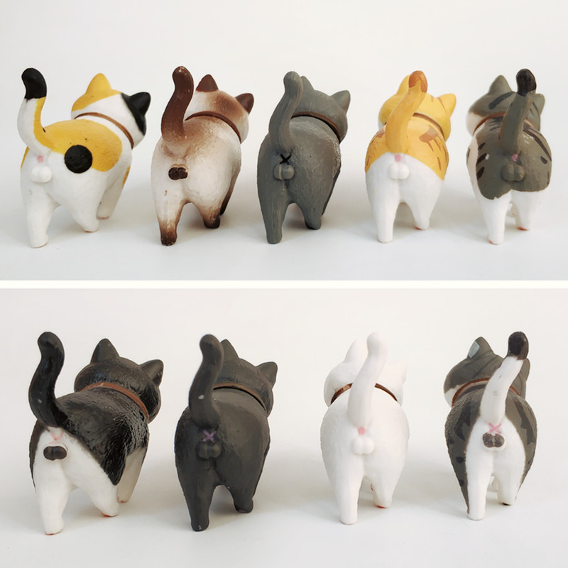 1Pcs Cute Mini PVC Animation Model Cat Doll Figures Toy Creative Individuality Handicraft Ornaments Dashboard Balcony Decoration