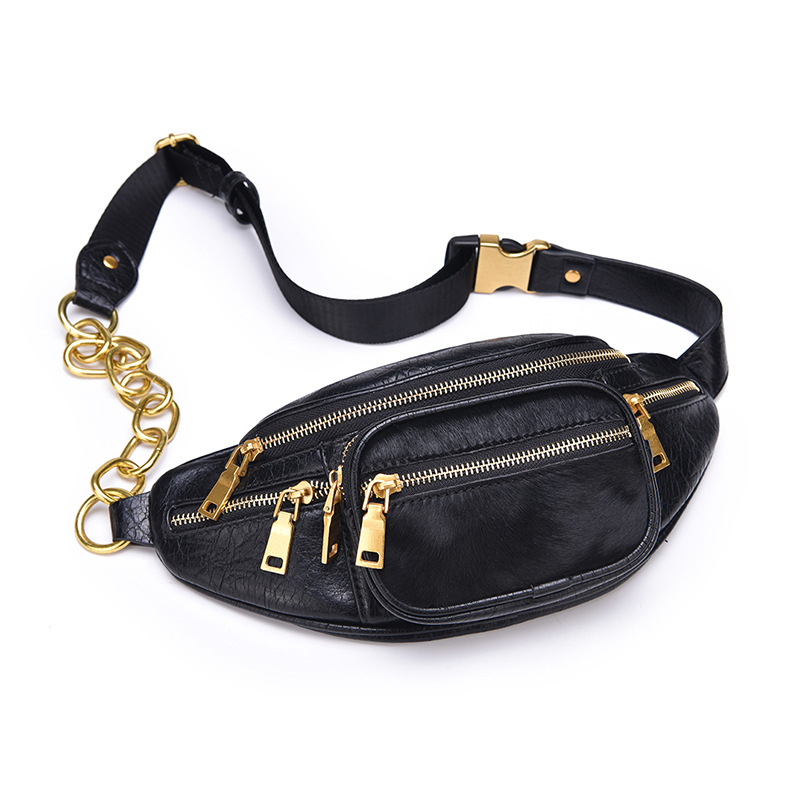 Quality Black Pure Horse Hair Cowhide Chain Waist Bag Bananka Bag On A Belt Leisure Fanny Pack Women Walking Belly Band Belt Bag