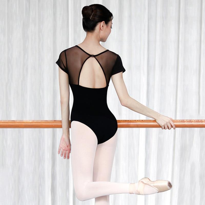 Dance Gymnastics Leotard Cotton Adult Ballet Leotards For Women Ballerina Dance Wear Leotard For Girls Black Mesh Splice in Ballet from Novelty Special Use