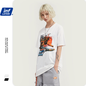 Image 2 - INFLATION Men t shirt Short Sleeve Streetwear Funny t shirts Cotton Graffiti Printed T shirt Casual Couple Top Tee 1033S20