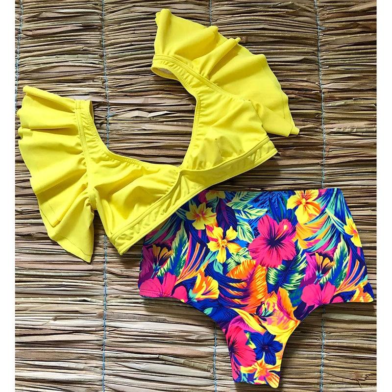 He6f282a8e50f4363a65d4577ea0c4c00d Floral Ruffled Hem Bikini Set Women Flora V-neck High-waisted Two Piece Swimsuit 2018 Girl Beach Bathing Suit Swimwear Biquinis