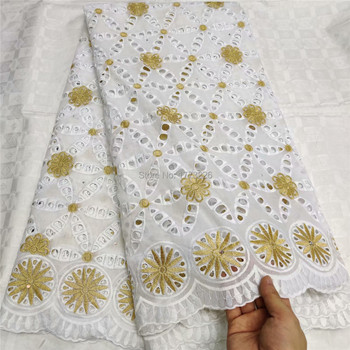 White/Gold African 100% Cotton Lace Fabric 2019 Latest Swiss Voile Lace In Switzerland With Stones For Men Women Party Dress QZS