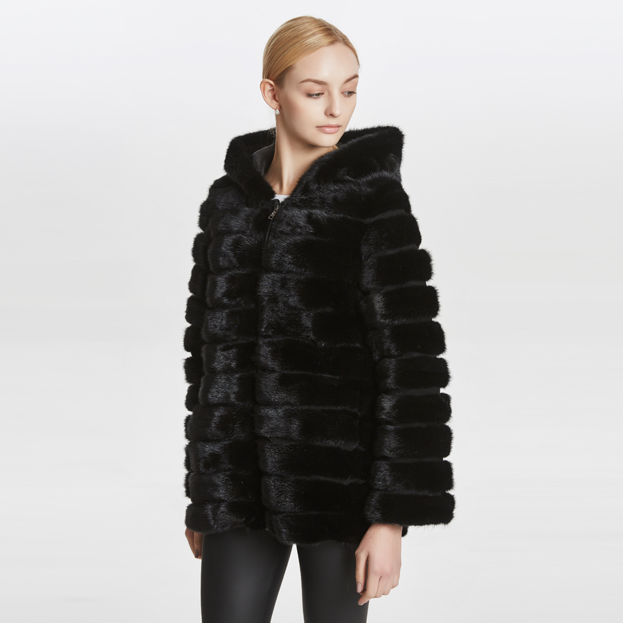 Quality Warm Women Winter Mink Fur Coat With Hood And Also With Collar. Large Plus Size Coat .