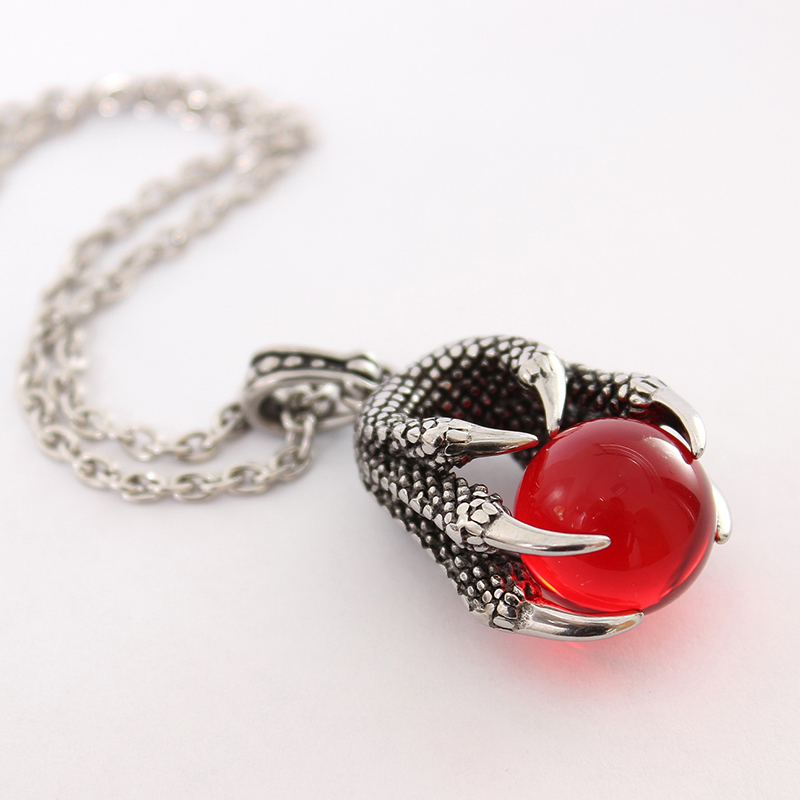 Punk Style Jewelry Red Dragon Claws Bead Gothic Men Pendant Necklace Silver Color Stainless Steel Chain Necklace With Gift Bags(China)