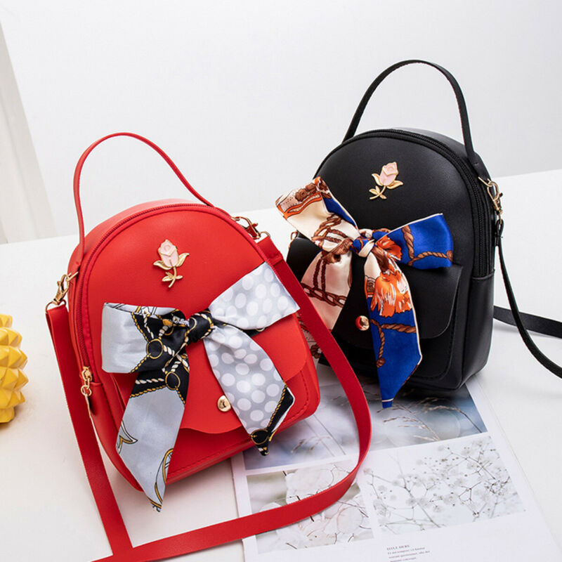 2020 Fashion Small Women Shoulder Bag PU Leather Envelope Crossbody Backpack Purse Bow Bandage Backpacks