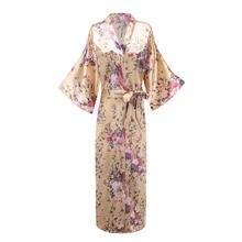 Женская ночная рубашка золотистого цвета сексуальное кимоно