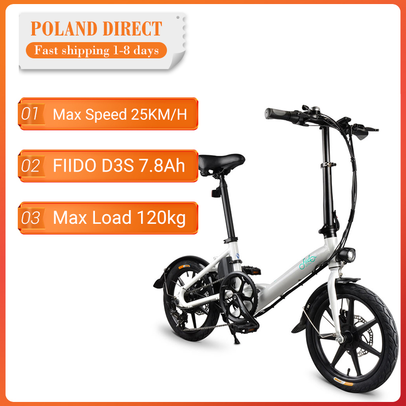 [EU Direct] FIIDO D3S Shifting Version 36V 7.8Ah 300W 16 Inches Folding Moped Electric Bicycle 25km/h Max 60KM Electric Bike